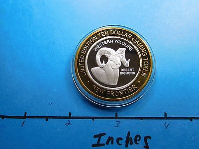 Desert Bighorn Sheep Western Wildlife New Frontier 999 Silver $10 Gaming Coin