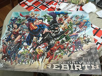 DC Rebirth Poster 27x 34 Signed by Levitz, Chu and Mann SDCC 2016