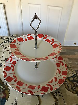 2 Tier Cake Stand Plate Wedding Summer Tea Party Cupcake Bake Muffin Used
