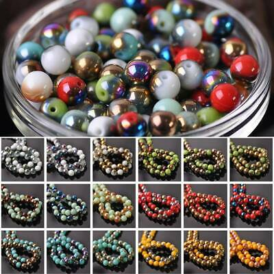 Wholesale 4mm 6mm 8mm Round Glass Loose Spacer Colorized Beads Jewelry Making