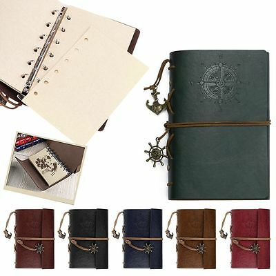 Vintage Classic Retro Leather Notebook Notepad Sketchbook Blank Diary Journal