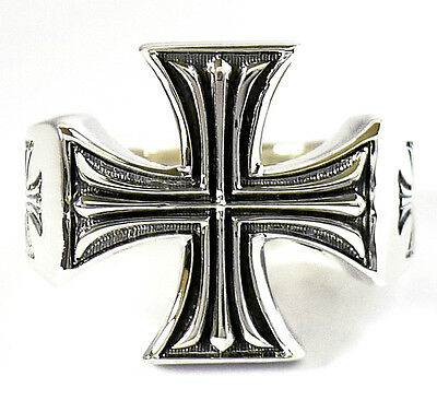 Crusader Knight Templar Iron Cross Pattee Sterling 925 Silver Mens Ring