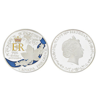 1Pc Queen's 90th Birthday Silver Plated Commemorative Coin  Art Collectible Gift