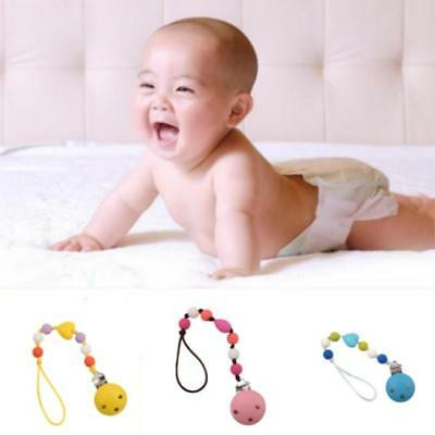 Cute Newborn Baby Dummy Pacifier Soother Nipple Shield Wood Chain Clip Holder LG
