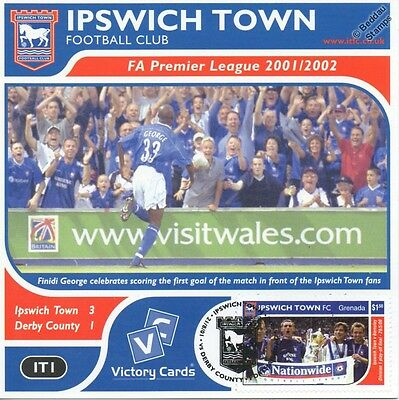 IPSWICH TOWN 2001-02 Derby C.(Finidi George) Football Stamp Victory Card #101