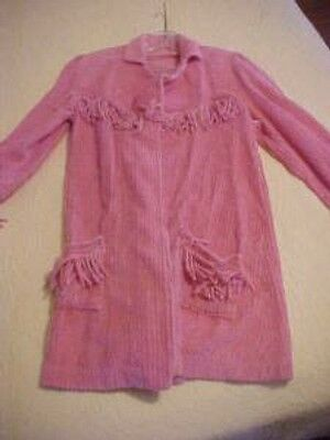 VINTAGE  CHENILLE JACKET w FRINGE, PINK ROSE COLOR