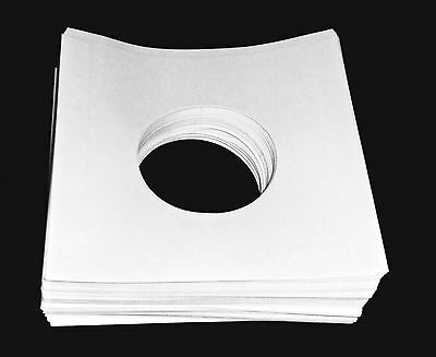"""(200) 45 RPM 7"""" Record INNER SLEEVES With Hole Heavy-Weight 20# White Paper New"""