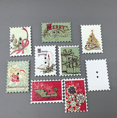 Christmas Holiday card production stamp Wooden Buttons Sewing Scrapbooking 34mm