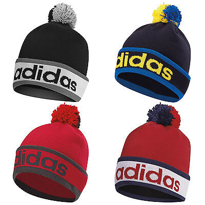 Adidas Mens Pom Pom Beanie Hat - New Knit Bobble Cap Winter Golf Sports 2016