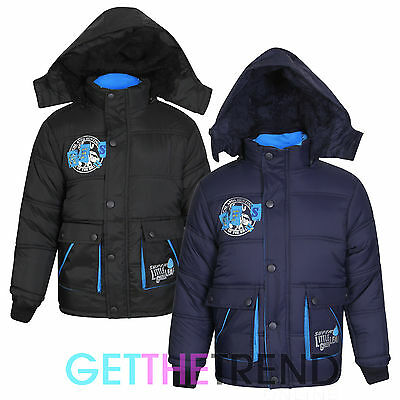 Boys Padded Puffa Jacket Hooded School Puffer Coat Kids Back To School Jacket