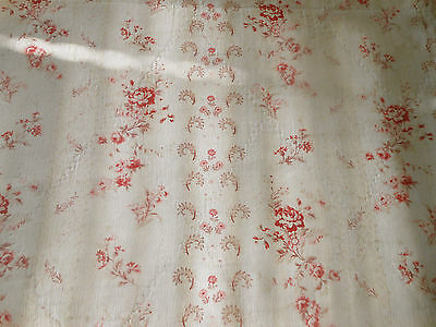 Antique French Shabby Roses Cotton Fabric ~ Berry Pink Red on old White