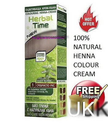 100% Pure Silver Blonde Henna Colour Cream Herbal Hair Colorant Dye Ready To Use