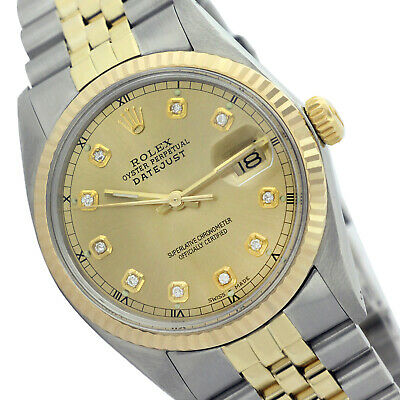 Rolex Men's Datejust Two-Tone 36mm Diamond Dial/Fluted Bezel - Pre-Owned