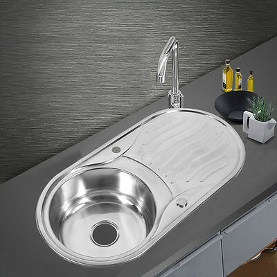 Stainless Steel 1.0 Single Bowl Reversible Round Inset Kitchen Sink Drainer Taps