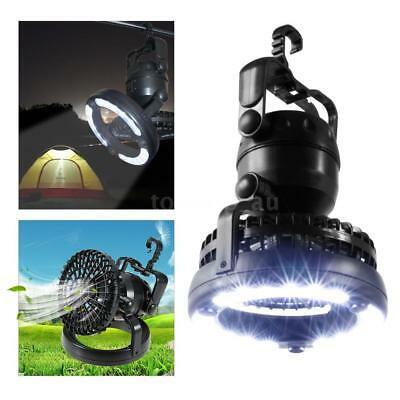 2-in-1 Portable LED Fan Camping Lantern Bank Hanging Tent Lamp Light Torch A2J3