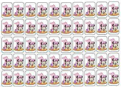 """50 Baby Minnie Mouse 1st Birthday Envelope Seals Labels Stickers, 1"""" x 1.5"""""""