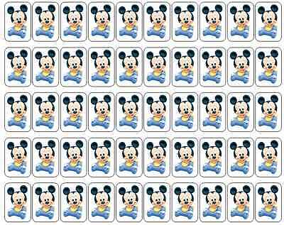 "50 Baby Mickey Mouse / Disney Babies Envelope Seals Labels Stickers, 1"" x 1.5"""