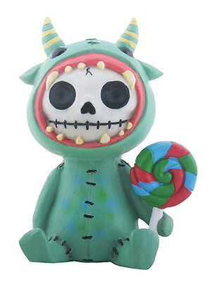 Furrybones Mogu Skeleton in Green Monster Costume Holding Lollipop Figurine