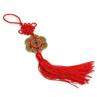 FENG SHUI 8 COIN TASSEL RED Hanging Cure Good Fortune NEW Luck Wealth Prosperity