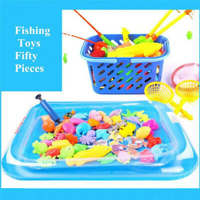 Magnetic Fishing Game Toy Set 50pcs 2 Fishing Pole Rod Pool and Inflator For Kid