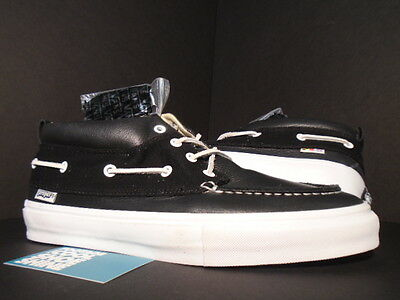 e118cc0c2c 09 Vans Chukka Del Barco Lx Proper Boat Shoes Black White Leather  Vn-0H6Wy28 11