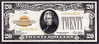 US 1928 $20 Gold Certificate FR 2402 VF-XF (-985)
