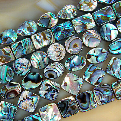 "Natural Oval Square Coin Oblong Abalone Shell Gemstone Beads 15"" L"