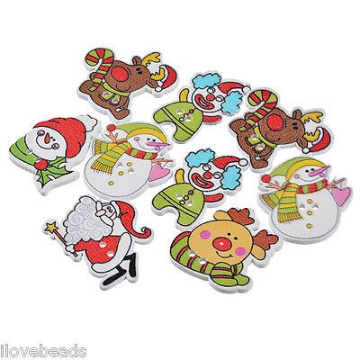 50PCs Cardmaking Cute Christmas Santa Claus Wooden Button 2-Holes Scrapbooking