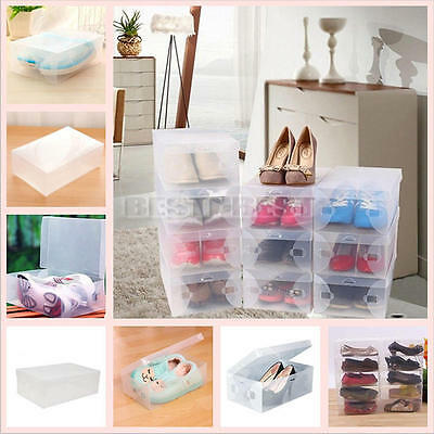 10 Pcs Home Plastic Clear Shoe Boot Box Stackable Foldable Storage Organizer w h