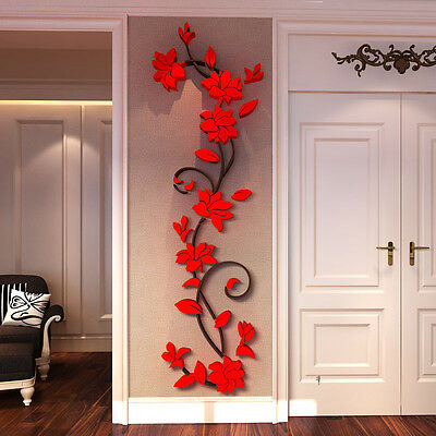 3D Rose Flower Wall Stickers Removable Decal Home Decor DIY Art Decoration Mural