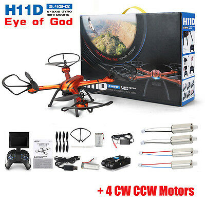 FPV JJRC H11D RC Quadcopter Drone 5.8G HD Camera + Monitor + Spare 4 Motors