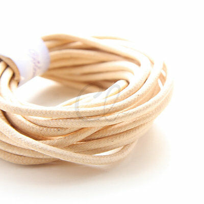 5 Yards of Round Wax Cotton Cord - Natural 3mm (00)