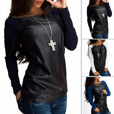 Fashion Womens Long Sleeve Shirt Casual Blouse Loose Tops Tee PU Leather T-Shirt