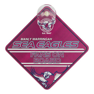 Manly Sea Eagles NRL Team Supporters Car Sign * Fans on Board