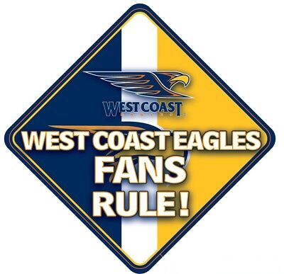 West Coast Eagles AFL Team Supporters Car Sign * West Coast Eagles Fans Rule!