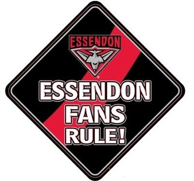 Essendon Bombers AFL Team Supporters Car Sign * Essendon Fans Rule!