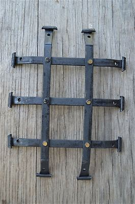 Handmade wrought iron antique door spyhole grill air vent cover brass rivets SDG