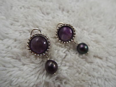 Sterling Silver Amethyst Gray Cultured Freshwater Pearl Pierced Earrings  (A17)