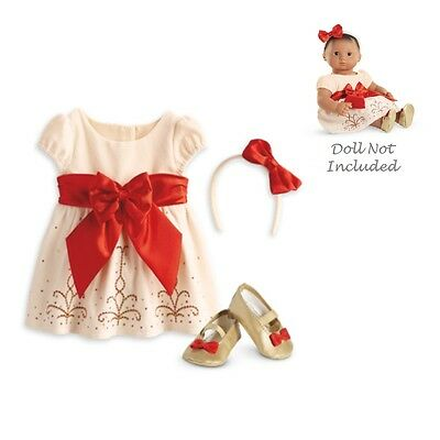 """American Girl BITTY BABY  CREAM & CRIMSON OUTFIT for 15"""" Baby Dolls Clothes NEW"""