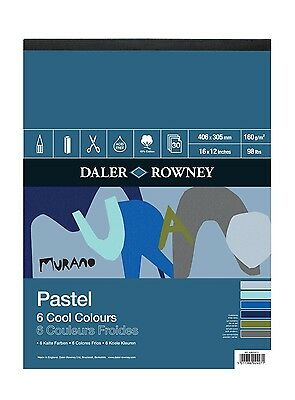 "Daler Rowney Murano Pastel Paper Pad 6 Cool Colours 16 x 12"" 30 Sheets Blue Grey"
