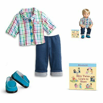 American Girl BT BITTY TWIN RAINBOW PLAID OUTFIT for Baby Boy Dolls Shirt  NEW