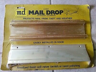 "Vintage Brass Color Aluminum Door Mail Drop Slot Letters 13"" X 3"" X 1.5"" NIP"