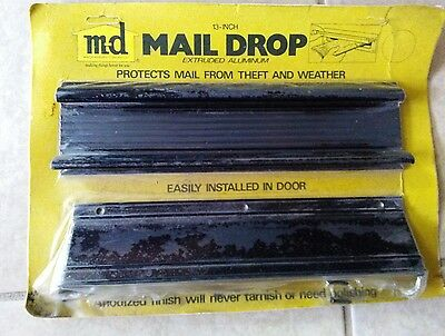 "Vintage Black Aluminum Door Mail Drop Slot Letters 13"" X 3"" X 1.5"" NIP"