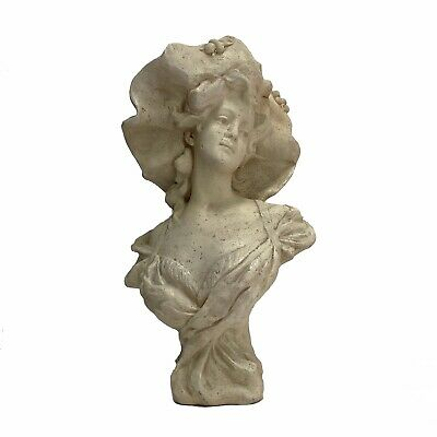 Victorian Turn of The Century faux Marble Bust Statue of Young Girl in Hat