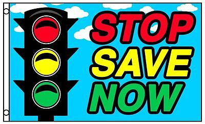 STOP SAVE NOW Advertising Flag Traffic Light Business 3 x 5 Foot Sale Store Sign