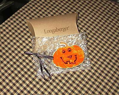 Longaberger Rare Happy Halloween Large PUMPKIN Tie-On or PIN  - New in Box