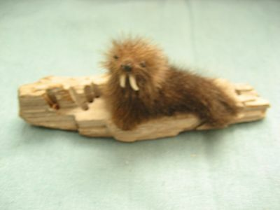 Vintage furry Walrus On a driftwood piece Figurine   Unknown material