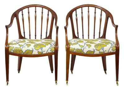 18Th Century Pair Of Mahogany Hepplewhite Armchairs