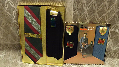 Vtg 3 prk Men's Acrylic Blend Socks  & Neck & Tie Gift Sets Black/Slate Blue