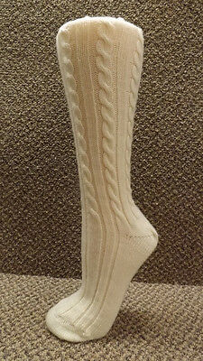 Beautiful Vtg Soft Cream Colored Acrylic Cable Knit Knee Socks NOS School Girl